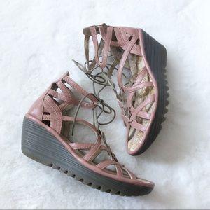 Fly London Yuke Pink Lace Up Sandal 40 Wedge